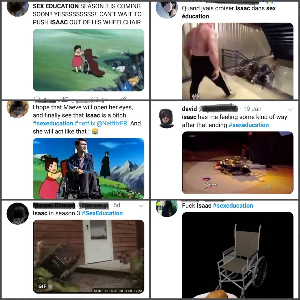 A screenshot of various unpleasant tweets all focused on Isaac - 5 of the 6 have the theme of 'someone should throw his chair down a hill' essentially.