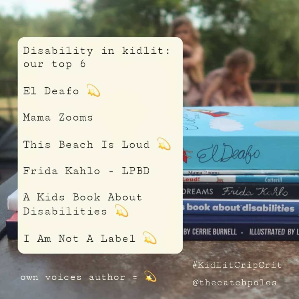 A pile of books with two small girls - our daughters - just visible playing on the wheelchair in the background. Text reads: Disability in kidlit: our top 6. The list of books under this is exactly the same as the list in the body of the text.