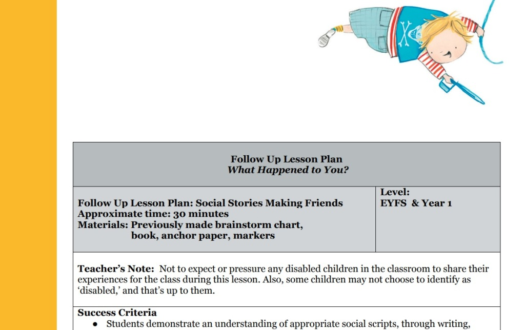 Title reads: Follow Up Lesson Plan: Social Stories Making Friends. Level: EYFS & Year 1. Illustration shows Joe flying through the air, being a pirate