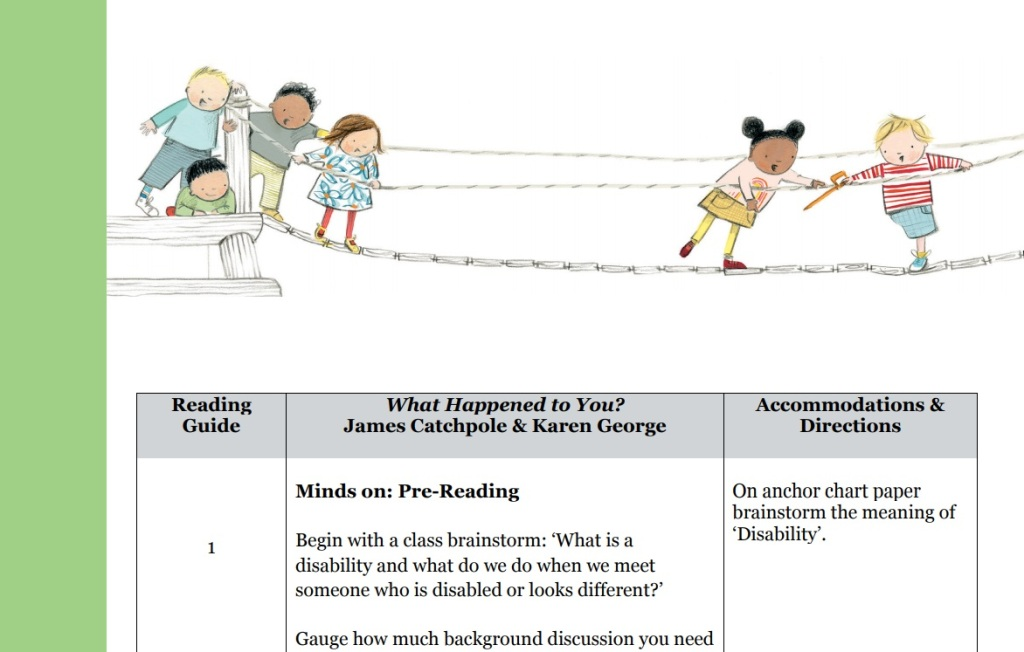 Title reads: Minds on: Pre-Reading. An image of Joe, Simone and the other children crossing the bridge. From the book, illustration by Karen George.