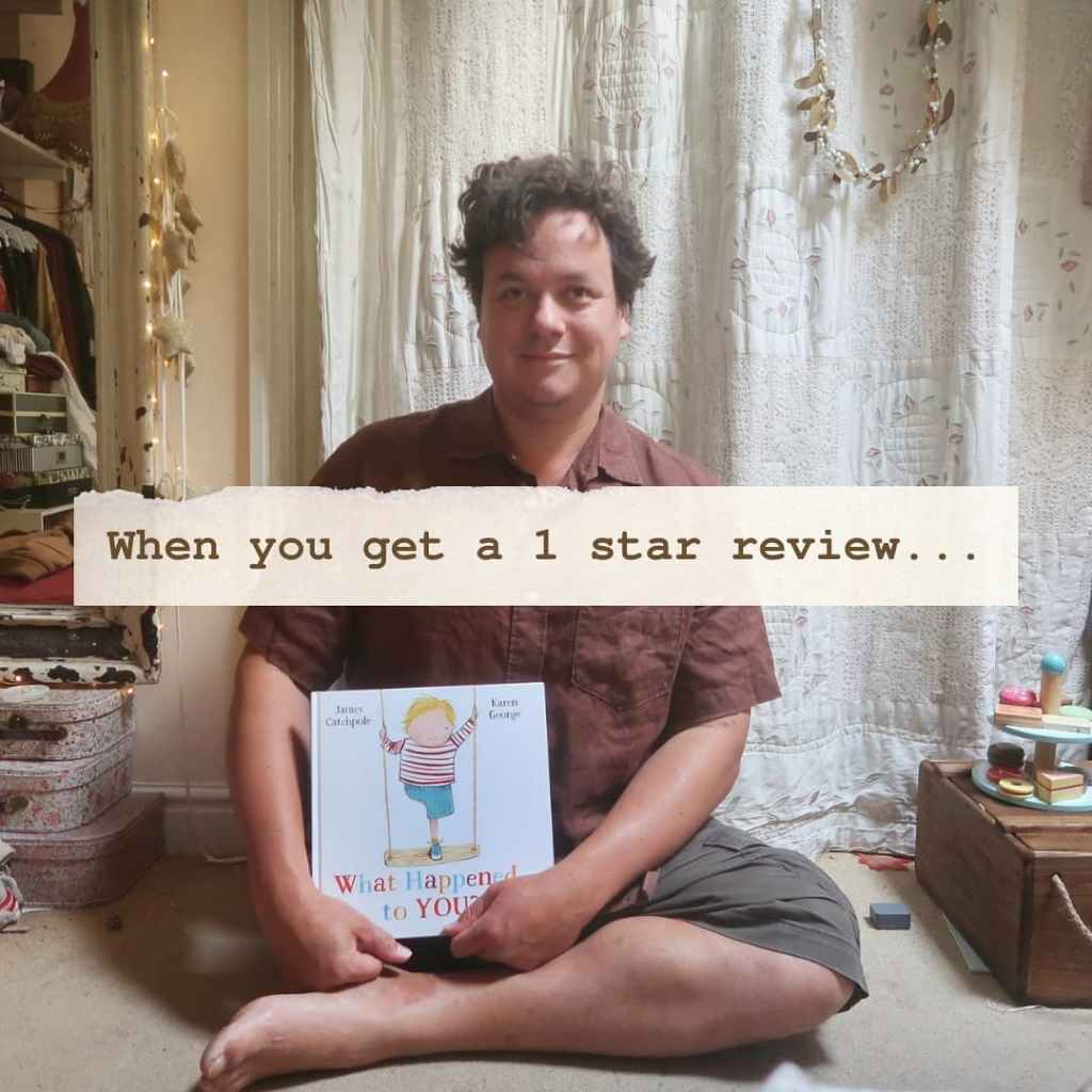 """An almost identical photo, but James is looking at the camera and smiling.Our text, typewritten on cream paper over the top, reads """"When you get a one star review..."""""""